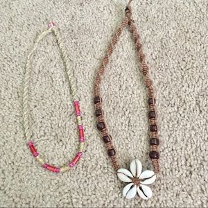 Surfer beach wooden & shell necklace set